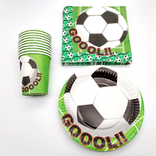 Купить с кэшбэком 60pcs/lot Football Kids Favors Cups Baby Shower Party Soccer Ball Theme Napkins Happy Birthday Decoration Plates Events Supplies