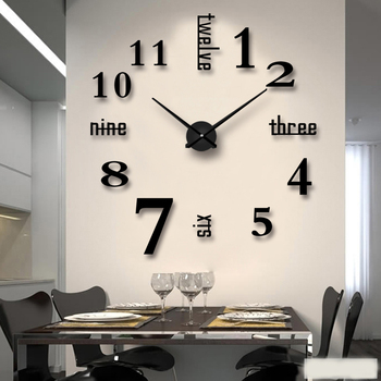 Creative Fashion Acrylic+EVA Metal Wall Clock Handmade 3D Electric Stick Wall Digital Needle Quartz Clocks Tea Room Decorations