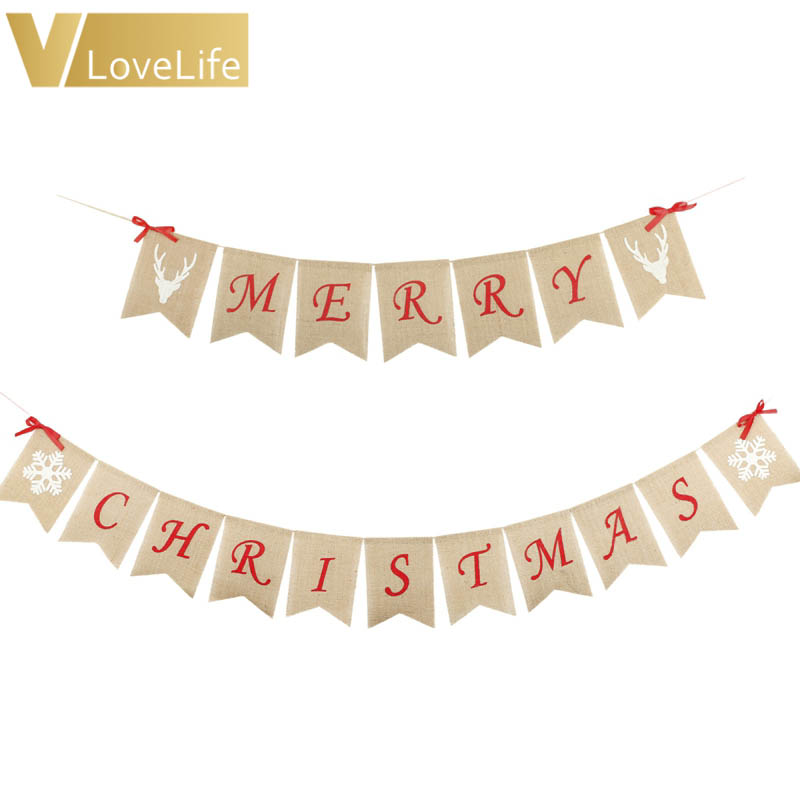 aliexpresscom buy merry christmas burlap banner christmas banner new year christmas decorations for home wall door decoration accessory from reliable - Merry Christmas Burlap Banner