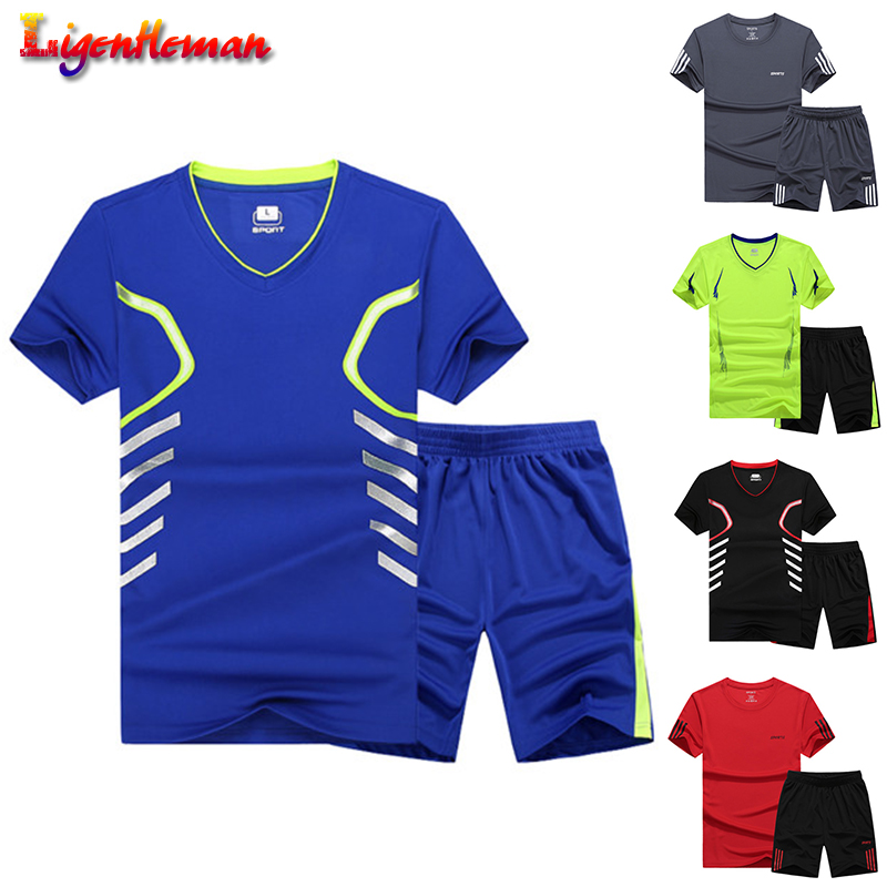 Summer Men 2019 Casual Two Pieces Suit Set Short Sleeve T-shirt & Male Streetwear Shorts Sets Tracksuit Man Short Sportswear Set
