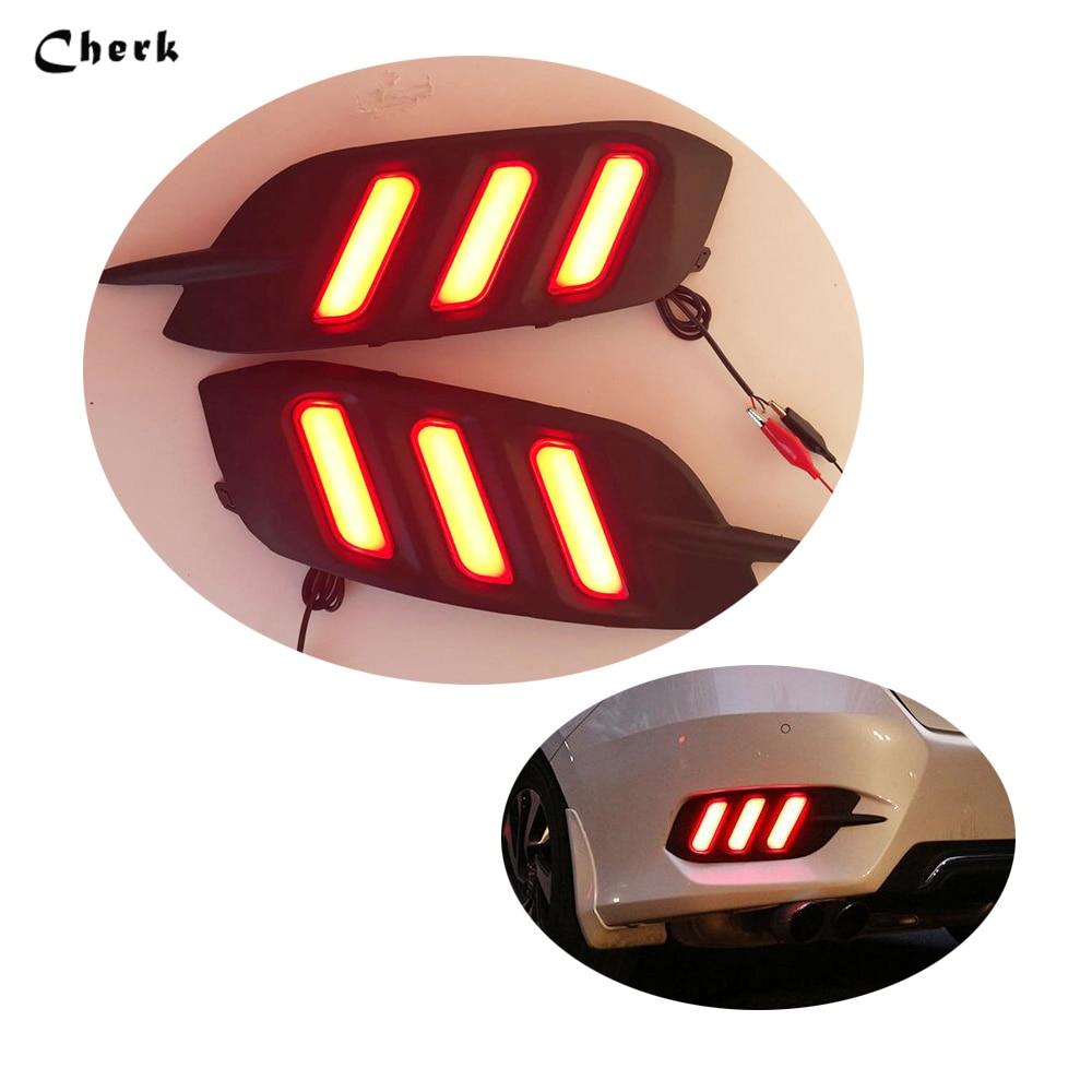 Signal Lamp Warning Light  For Honda Civic 2016 2017 10th Car LED Rear Brake Light Rear Driving Lights Rear Bumper Lamp  2pcs