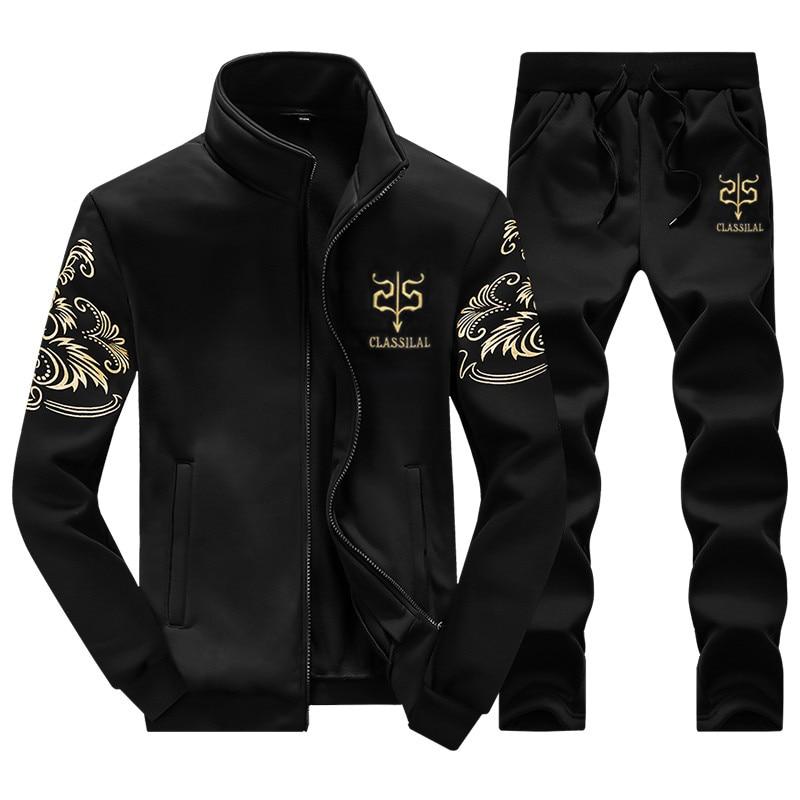 2017 Casual Men Tracksu Suit Jacket+Pant Cotton Polo Set Mens Tracksuit Sweatshirt Male 2 Pieces Set trainingspak mannen M-5XL