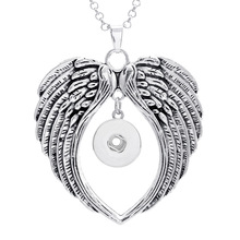 4 Styles Angel Wing Snap button Pendant necklace 50cm stainless steel link chain DIY 18MM/20MM Snap Buttons Jewelry NPN001
