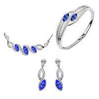 Groothandelaren Zirkoon Gem Nobele Rijke Lucky Nieuwe Klassieke Teardrop Oostenrijkse Crystal Earring Ketting Armband Sieraden Set
