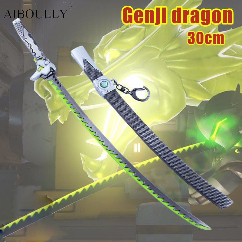The new hot 2016 OW Genji dragon 30cm zinc alloy genji dressing dao model A favorite of gamers 2017 games ow genji shuriken zinc alloy rotatable darts cosplay props collection fidget spinner weapons model toy christmas gift
