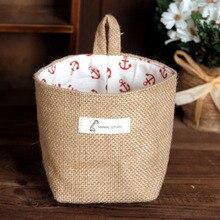 1pcs Zakka Style Storage Jute with Cotton Lining Sundries Basket Mini Desktop Storage Hanging Bag