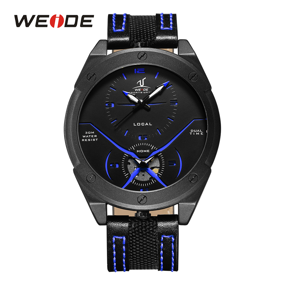 WEIDE Men's Casual Analog Dual Time Zones Quartz Round Watch Black and Blue Genuine Leather Strap Band Outdoor Sport Wristwatch goblin shark sport watch 3d logo dual movement waterproof full black analog silicone strap fashion men casual wristwatch sh165