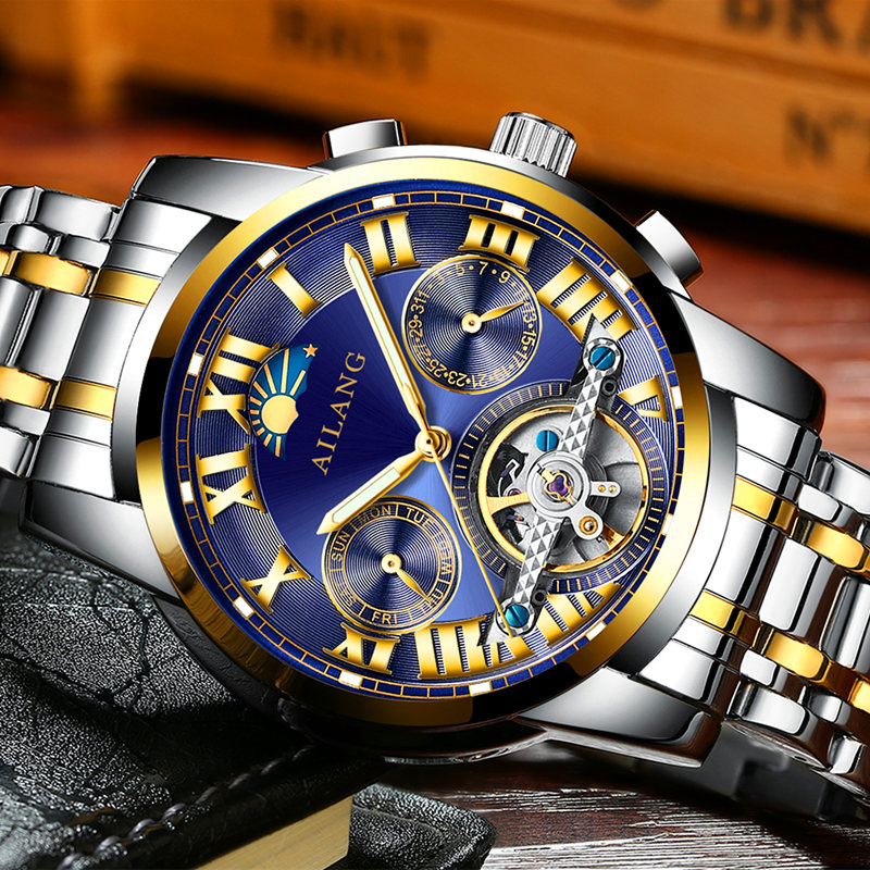 Фото AILANG new luxury brand Roman dial automatic mechanical watch sports tourbillon men