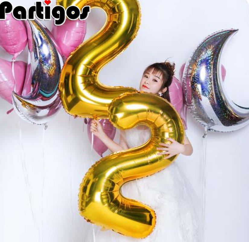 Image 3 - Giant Size 40&42 Inch Blue/Pink Big Number Foil Balloons 0 9 Birthday Wedding Engagement Party Decor Globos Kids Ball Supplies-in Ballons & Accessories from Home & Garden
