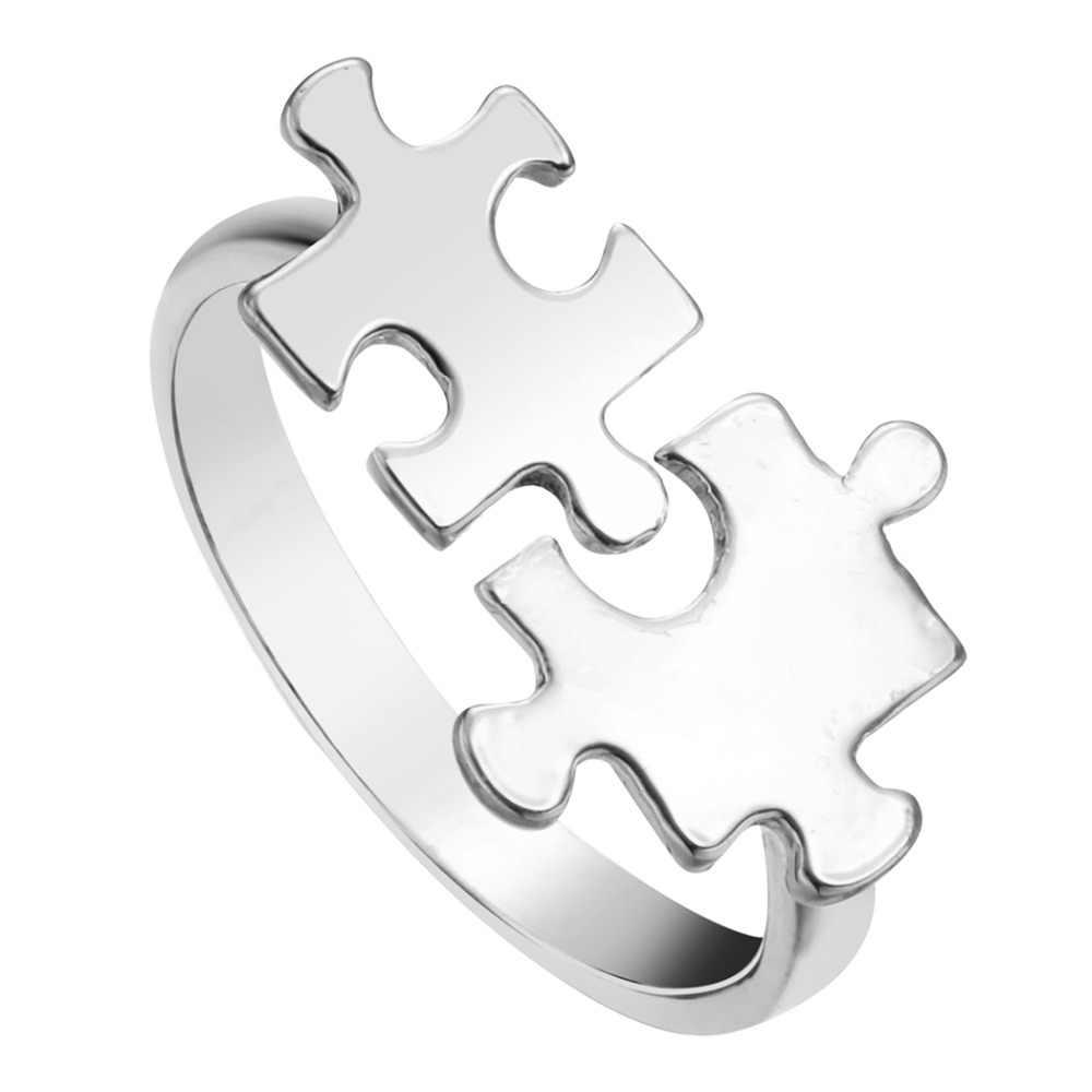QIAMNI Новое поступление Валентина индивидуальная мозаика головоломка-кольцо модные ювелирные изделия подарок для женщин и девочек