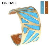 Cremo Ruban Cuff Bracelets Statement Interchangeable Leather Stainless Steel Bracelet & Bangle Cocktail Manchette Luxury Jewelry