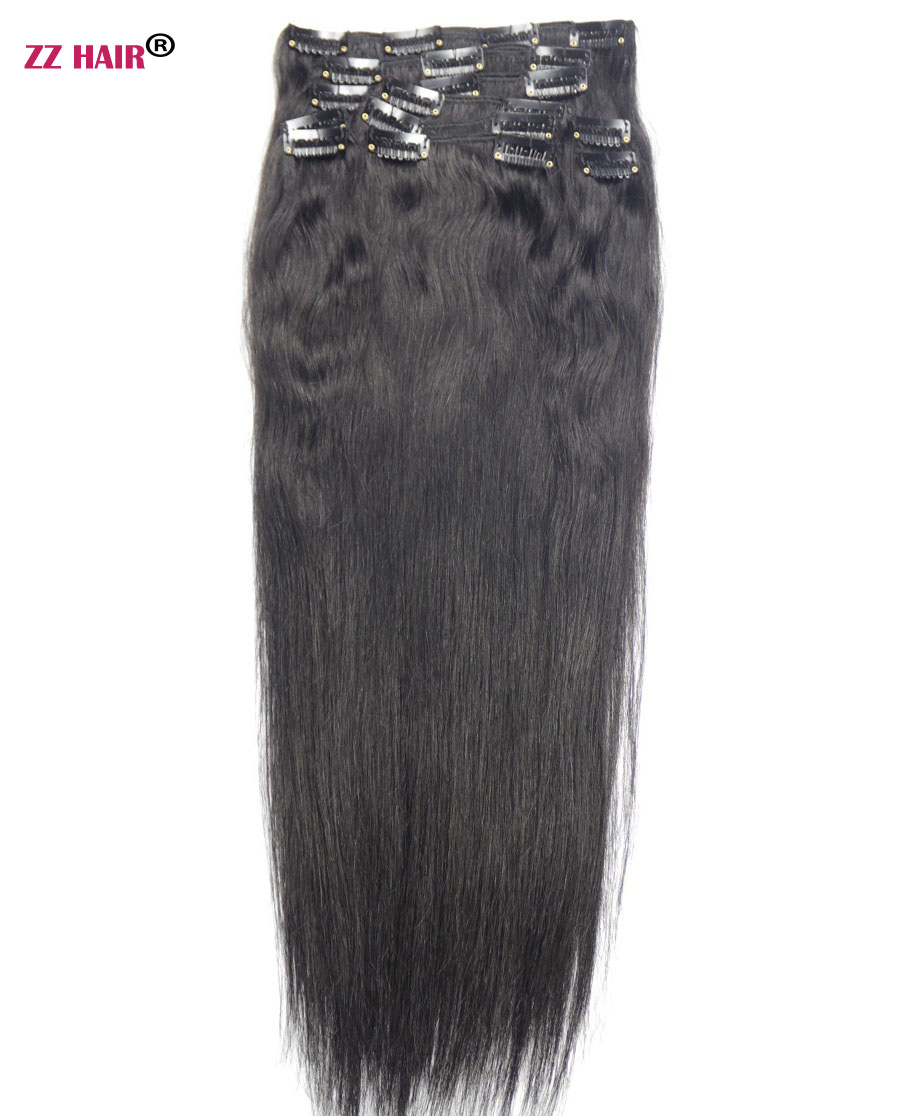 "ZZHAIR 140g-280g 16 ""-24"" Maskin Remy Hair 10pcs Set Clips In Mänskliga Hårförlängningar Full Head Set Natural Straight Hair"