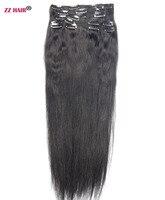 ZZHAIR 24 60cm 100 Human Hair Brazilian Clip In Human Hair Extensions 1Pcs 120g One Piece