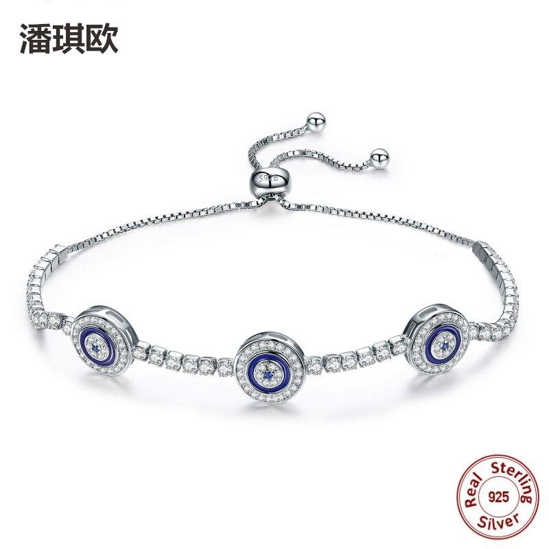 100% 925 Sterling Silver Luxury Round Turkey Blue Eyes Clear Austria Crystal Tennis Evil eyes Bracelet For women Fine Jewelry