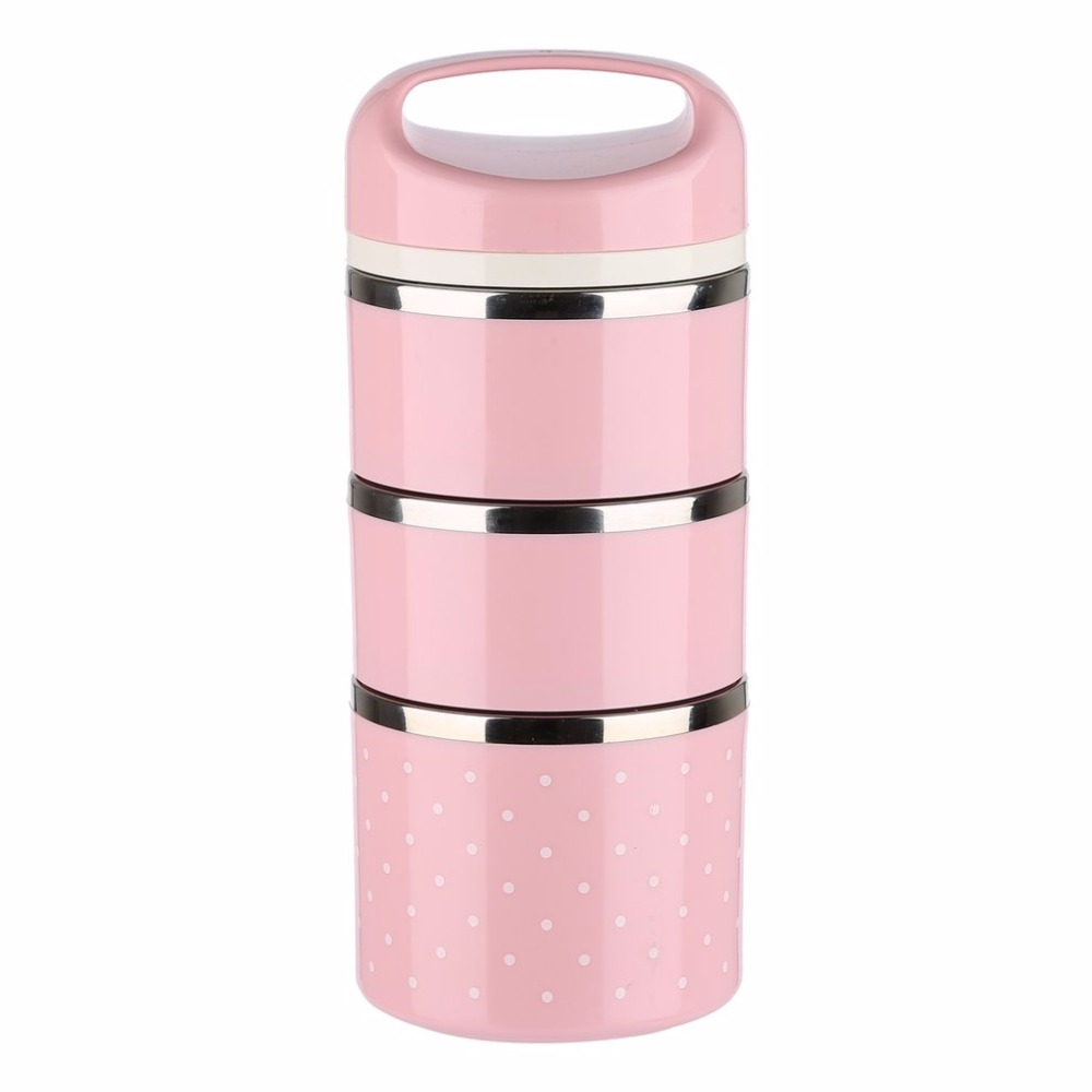 Portable Cute Japanese Box Leak Proof 3 Layers Stainless Steel Thermal Lunch Boxs For Kids Picnic