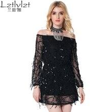 Slash Neck Sexy backless off shoulder Dress sequin tassel summer dresses 2017 party short dress Women vintage dress vestidos