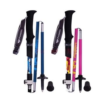 Bâtons de Marche Nordique Aluminium Pliables Télescopiques | Terra Luna | bleu ou rose premium