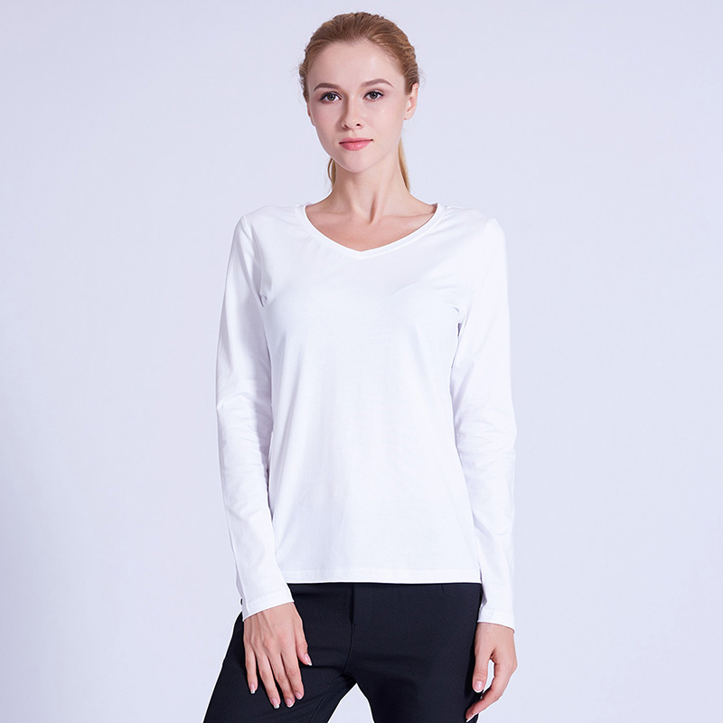 PREISEI PIMA Cotton White T Shirt Plus Size Long Sleeve Tshirt V Neck Casual Female T shirt  Tee Tops футболка женская PV201W-in T-Shirts from Women's Clothing on AliExpress - 11.11_Double 11_Singles' Day 1