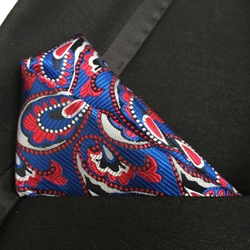 Luxury Men Formal Woven Pocket Square Classic Paisley Handkerchief