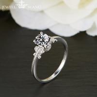 JEWELLWANG Moissanites Engagement Rings For Women 1.0ct Carat Certified 18k Real White Gold Ring Original Brilliant Gifts Girl