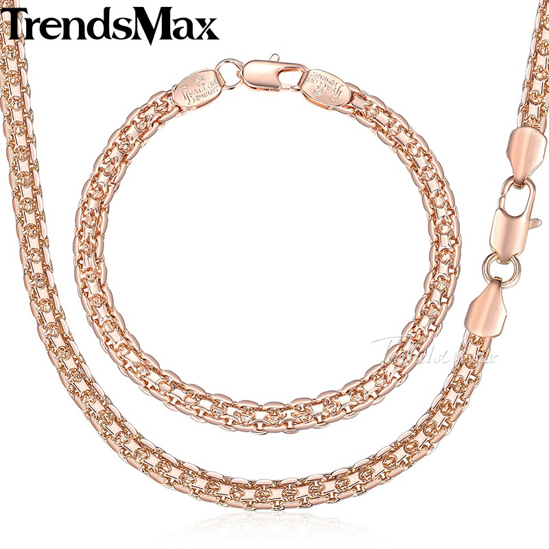 HTB1wUWQXhGYBuNjy0Fnq6x5lpXayJewelry Set Necklace Bracelet ,585 Rose Gold Filled Weaving Bismark Link 5mm