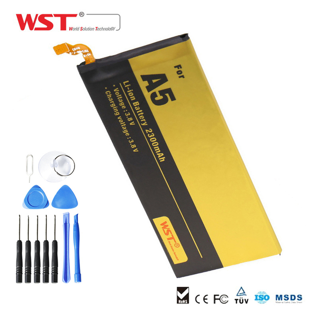 WST Brand  Replacement Battery  For Samsung Galaxy A5 / A500 2300mah mobile phone Battery with free 11PCS Tool Kit