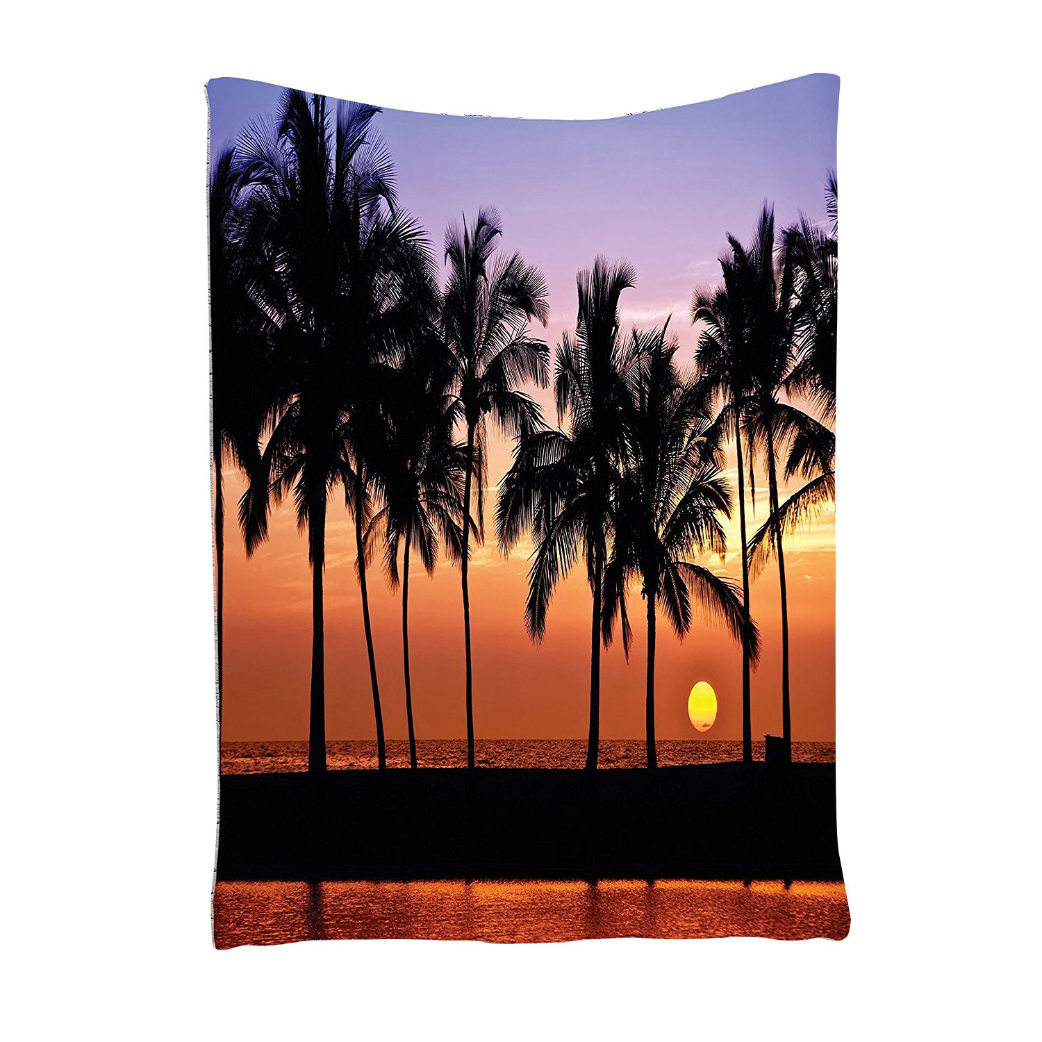Hawaiian Decorations Tapestry Hawaiian Sunset On Big Island Anaehoomalu Bay Tropic Horizon Ocean Romantic Resort, Bedroom Living