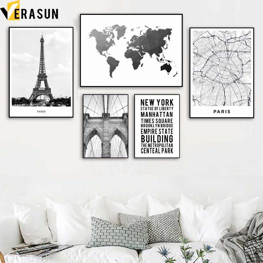 World Map Paris Tower New York Bridge Wall Art Canvas Painting Nordic Posters And Prints Wall Pictures For Living Room Decor