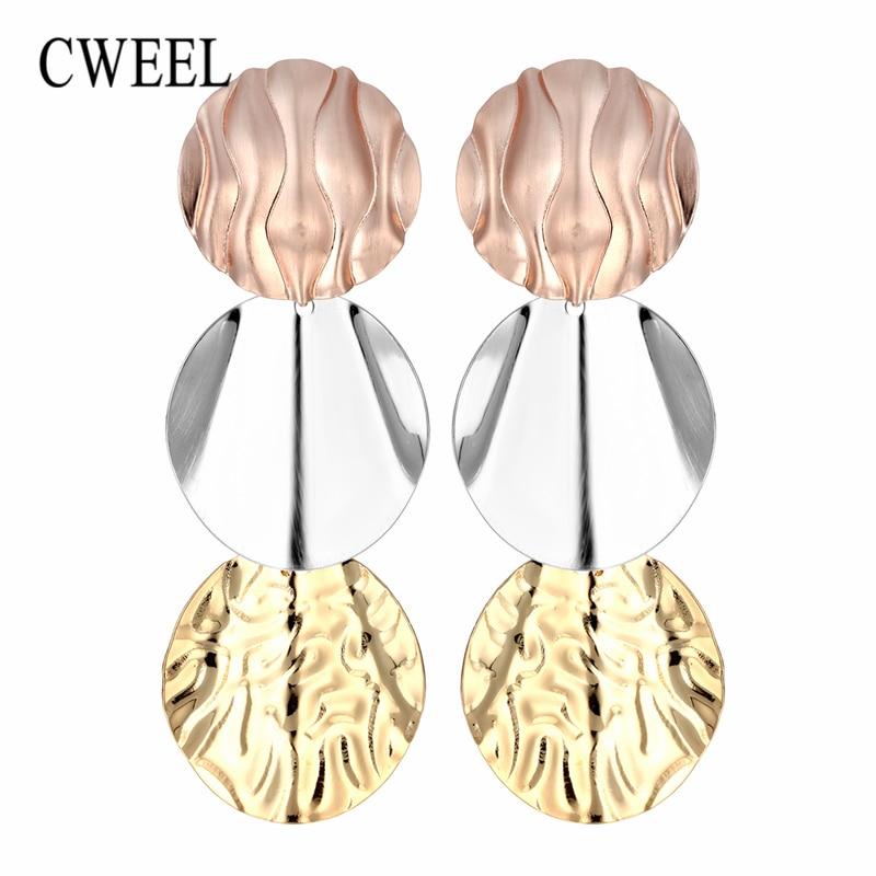 CWEEL Earrings Long Drop Earrings For Women Wedding Colorful Metal Geometric Jewelry Earring Party Vintage Boho Hanging Earring
