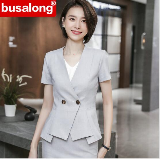 Fashion women skirt suit Spring Business summer formal fashion V Neck slim blazer and skirt office ladies plus size work wear