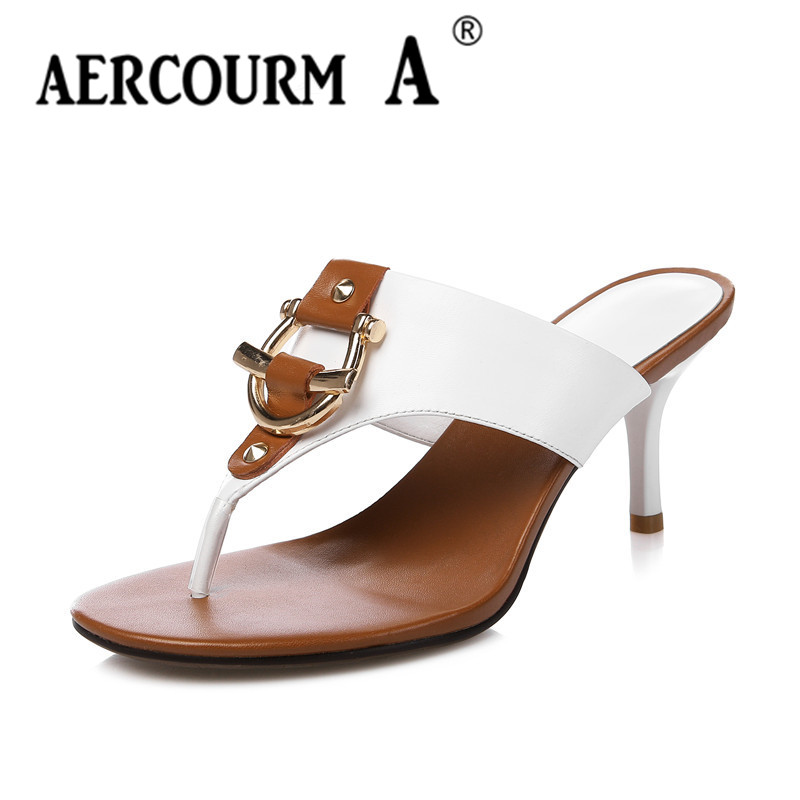 Aercourm A 2018 Women Genuine Leather Sandals Woman Fashion Slippers Lady Summer High Heel heel Slippers Withe Flip Flops H746 плавки marie meili swimwear цвет серый белый черный