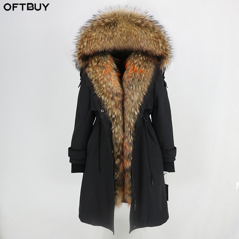 OFTBUY Waterproof Parka 2019 Real Fur Coat Winter Jacket Women Natural Raccoon Fur Collar Real Rex Rabbit Fur Liner Detachable