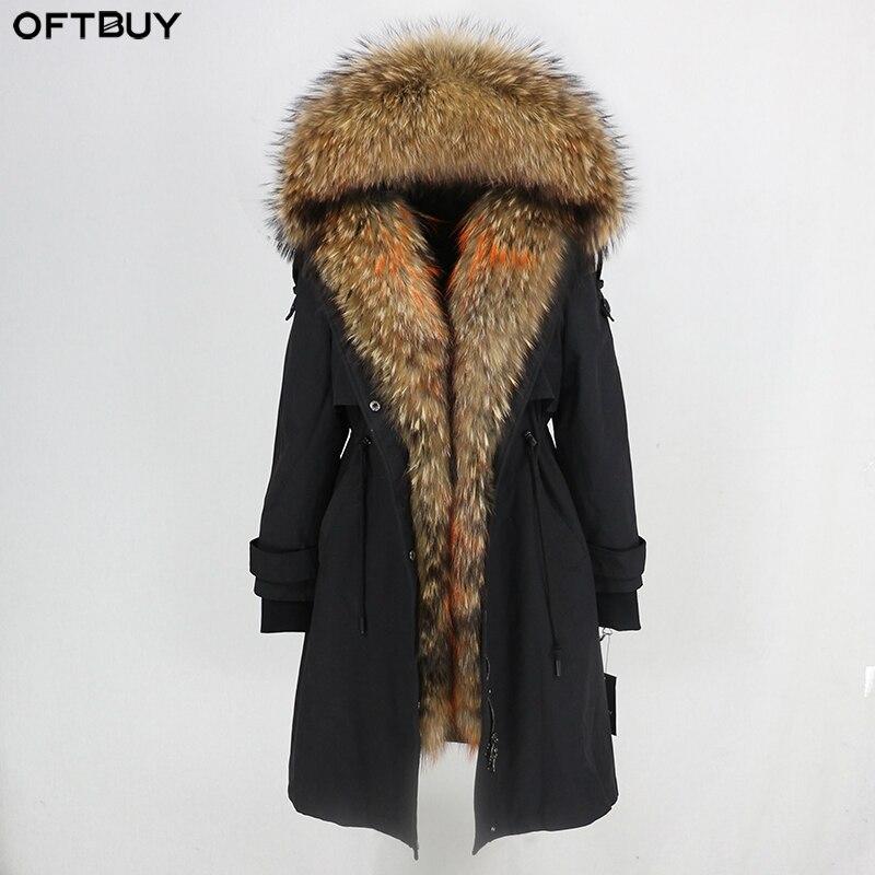 OFTBUY Waterproof Parka 2019 Real Fur Coat Winter Jacket Women Natural Raccoon Fur Collar Real Rex Rabbit Fur Liner Detachable-in Real Fur from Women's Clothing    1