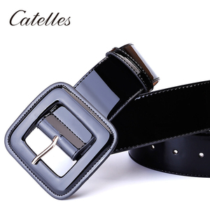 Image 3 - Catelles Wide Womens Belt Red Female Genuine leather Belt For Women Designers Brand High Quality Woman Waist Belts For Dresses