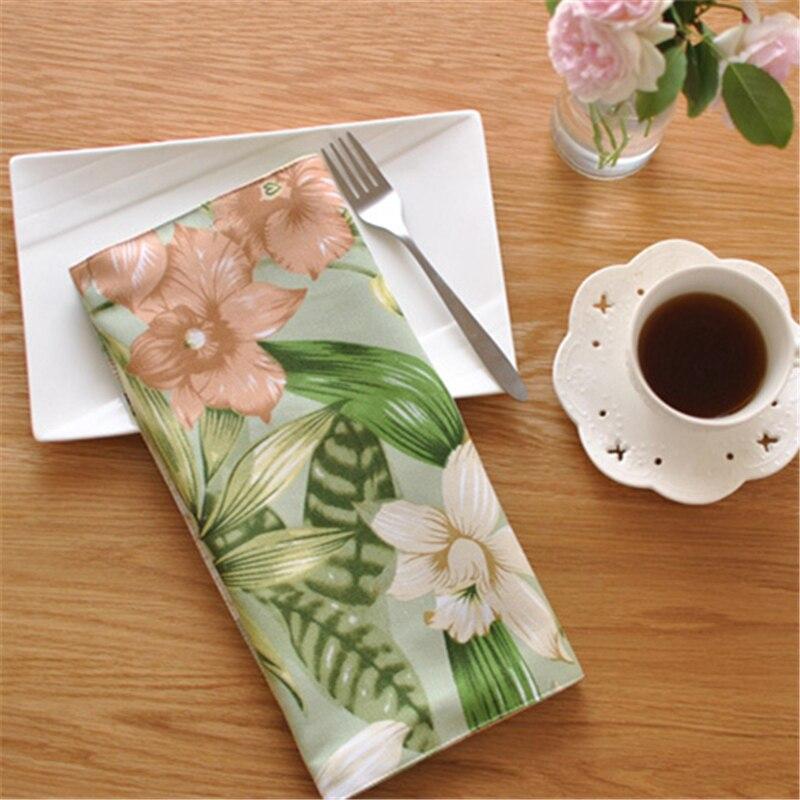 10pcs/lot Pastoral Placemat 40*30cm Cotton Linen Table Mat Double Layer Wear-resistant Dining Flower Table Napkin For Kitchen