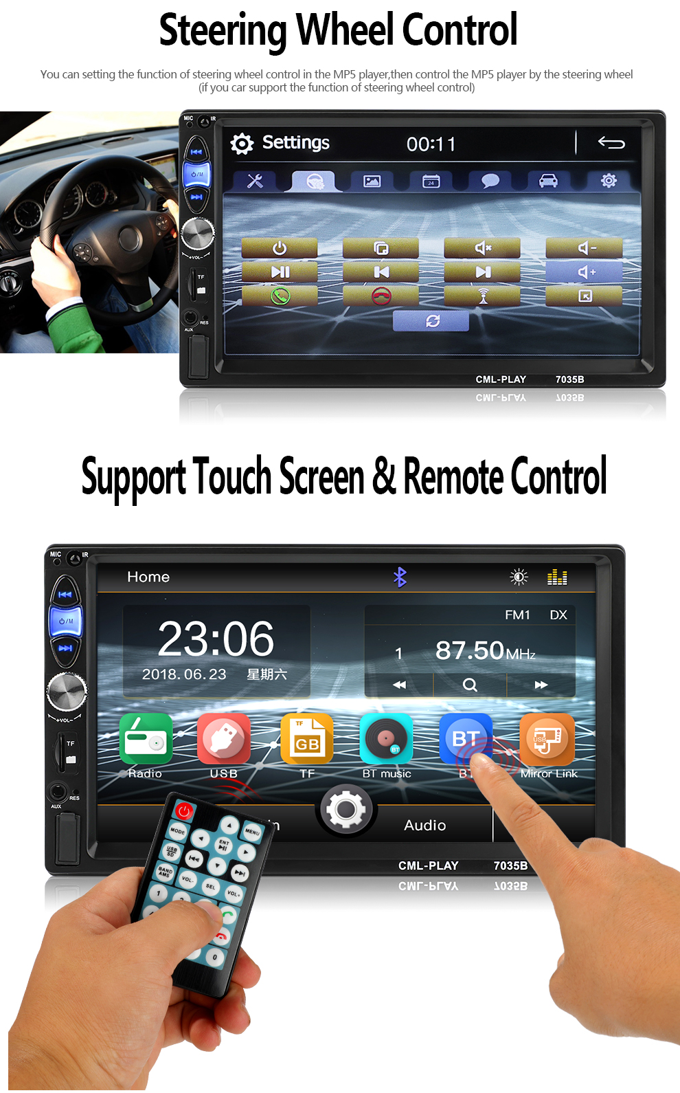Factory Design Universal 2Din MP5 Player Radio Stereo Bluetooth Handsfree Steering Wheel Control with Reverse Camera Mirror Link (6)