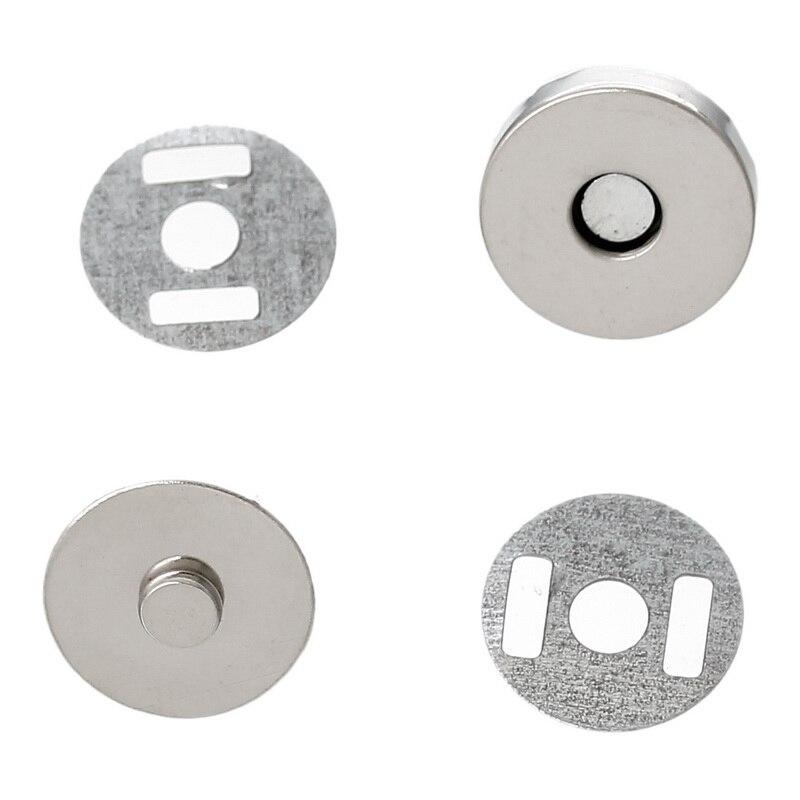 50Sets Round Magnetic Purse Snap Clasps Closure 14mm Fermoir Silver Tone DIY Handbag Making
