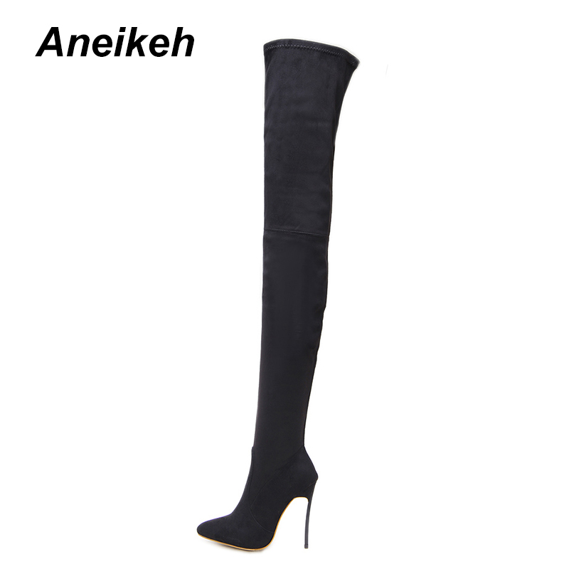 Women's Boots Loyal Aneikeh 2018 Fashion Stretch Fabric Sock Boots Pointed Toe Over-the-knee Heel Thigh High Woman Boot Botas Mujer Shoe Code 41 42