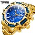 Relogio Masculino мужские часы Топ бренд Temeite Бизнес Кварцевые часы роскошные золотые мужские водонепроницаемые военные наручные часы Мужские часы