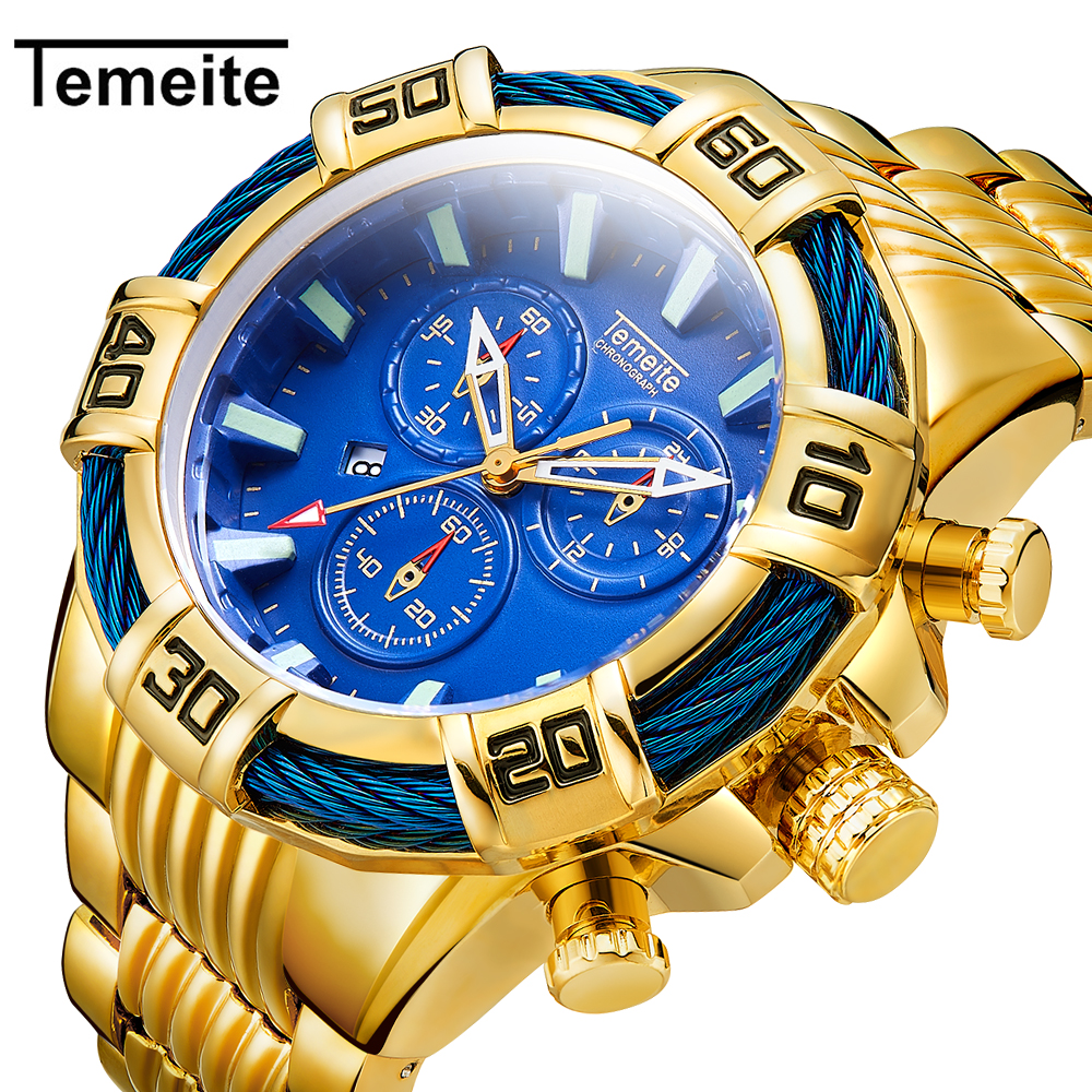 Relogio Masculino Men Watch Top Brand Temeite Business Quartz Watches Luxury Gold Man Waterproof Military Wristwatches Men Clock