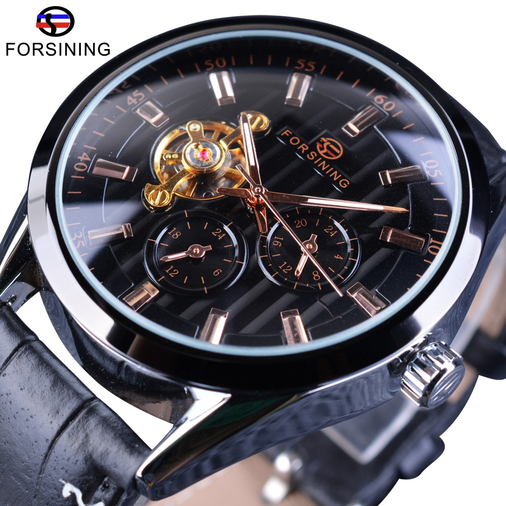 Forsining Fashion Tourbillion Luminous Hands Display Genuine Leather Men Mechanical Watch Top Brand Luxury Automatic Wrist WatchForsining Fashion Tourbillion Luminous Hands Display Genuine Leather Men Mechanical Watch Top Brand Luxury Automatic Wrist Watch
