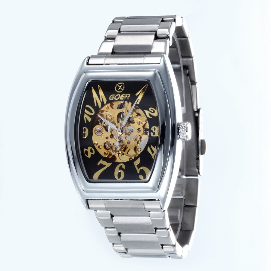 GOER brand Men s digital watches mechanical Automatic Square Tonneau Male stainless steel waterproof Movement Skeleton
