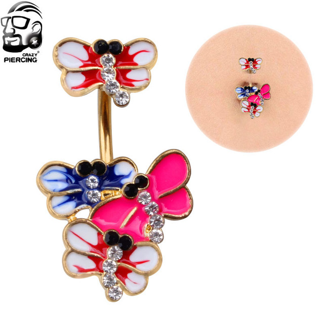 Hot Sale 1 Piece Corlorful Dragonfly Belly Button Ring Cheap Price Woman Piercing Body Jewelry In Body Jewelry From Jewelry Accessories On