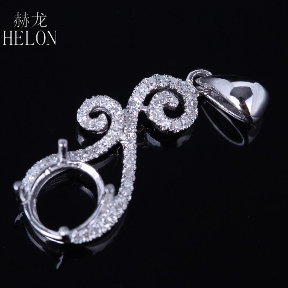 HELON Jewelry Diamonds Pendant Solid 14k White Gold 6mm Round Shape Semi-Mount Setting Wedding Pave Natural Diamonds Pendant 0 28 ct natural diamonds earrings solid 14k white gold snow shape charm jewelry