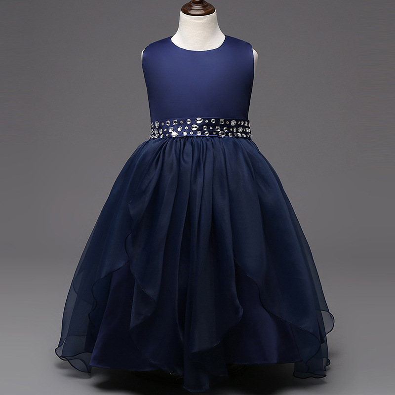 Holiday dress fashion new arrival hot pink white red navy blue crystal dresses for 8 15 year