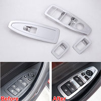 4pcs Set ABS Silver Car Interior Door Window Switch Lift Control Botton Cover Trim Fit For