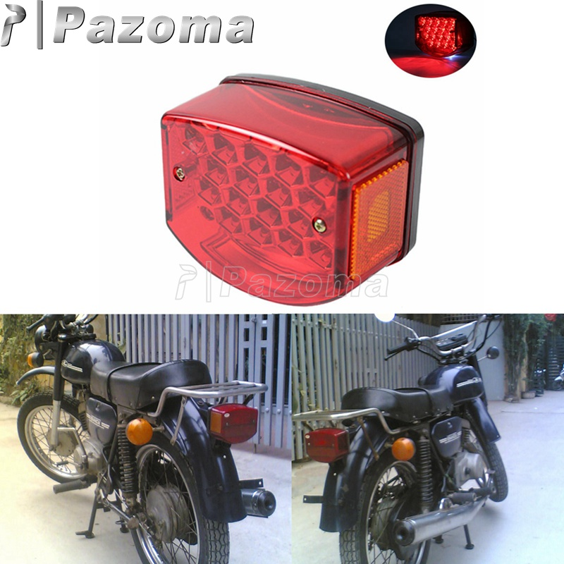 Motorcycle Reflective Red Lens LED 12V Rear Tail Brake Light Integrated License Plate Lamp For Minsk 125cc Carpathians 50cc