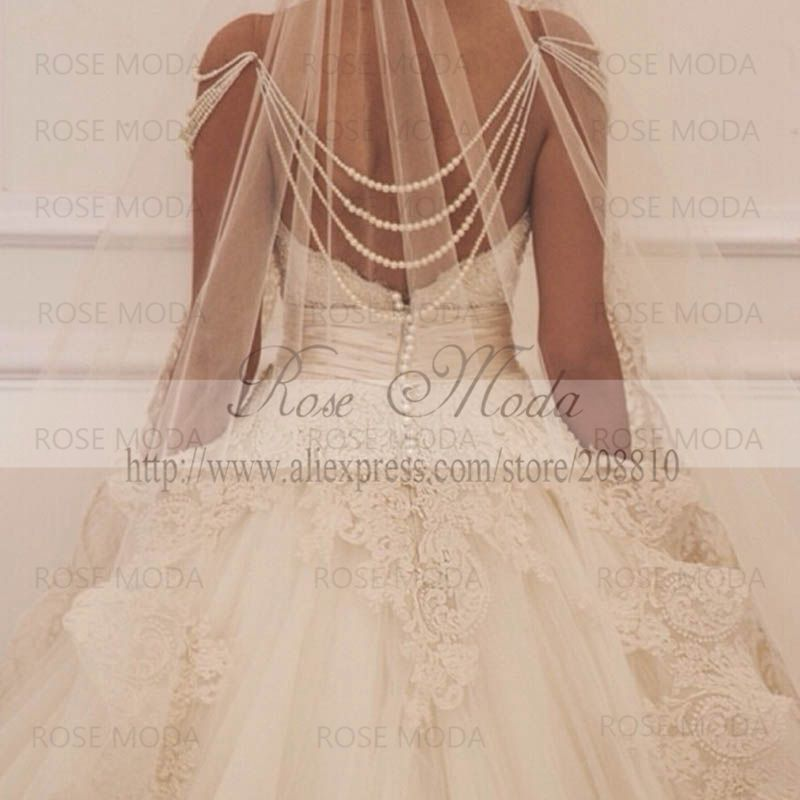 Luxury Pearl Draping Back Lace Ball Gown With Detachable Tulle Skirt Wedding Dress See Through In Dresses From Weddings