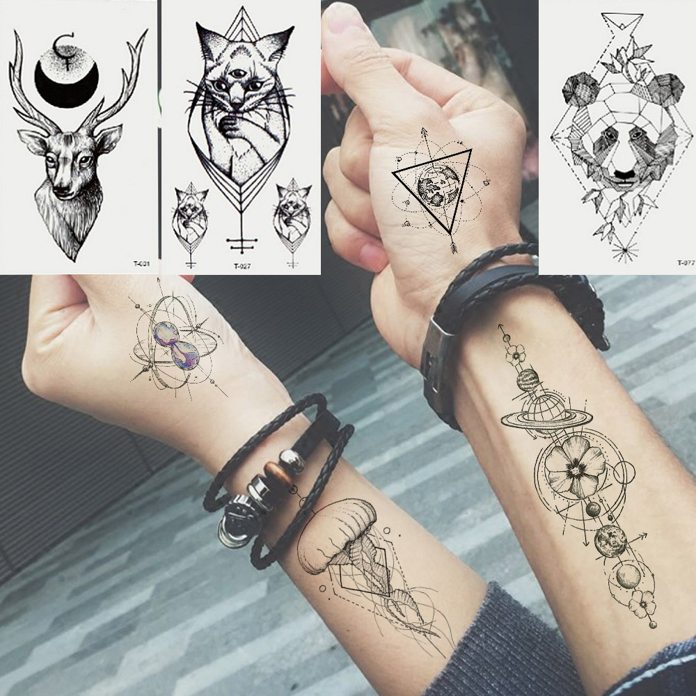 Water Transfer Small Fresh Animal Waterproof Tattoo Sticker Pattern Black Rose Sticker Cartoonbody Tattoo Tattoo   Wolf Animal