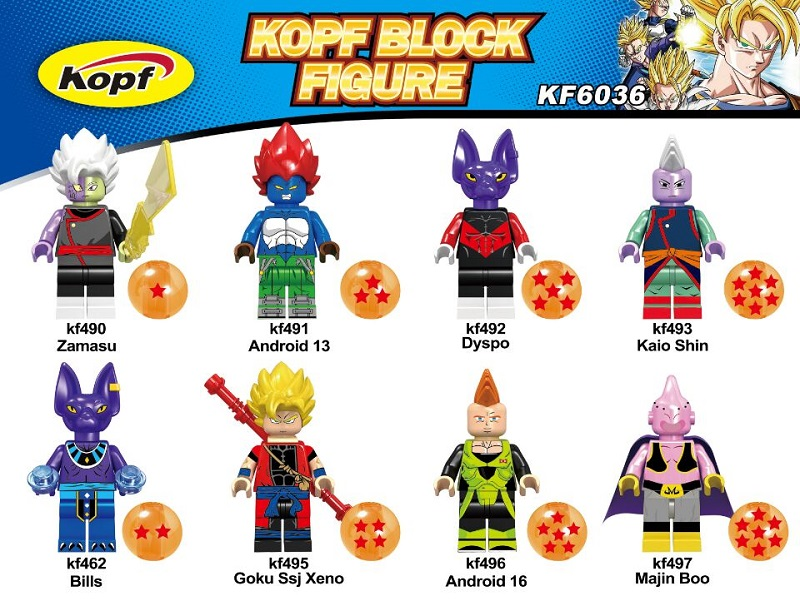 Single Sale Super Heroes Dragon Ball Z Figures Kaio Shin Bills Goku Ssj Xeno Majin Boo Building Blocks Children Gift Toys KF6036 single sale super heroes naruto movie jiraiya uzumaki kushina namikaze minato bricks building blocks children gift toys kf934 page 1